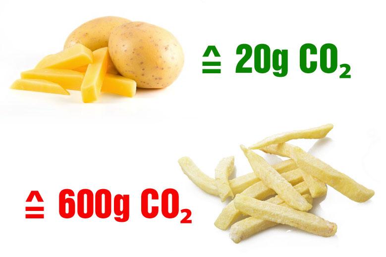 100 Gramm Tiefkühl-Pommes erzeugen 600 Gramm CO₂, während aus frischen und regionalen Kartoffeln selbst gemachte Pommes nur 20 Gramm CO₂ verursachen