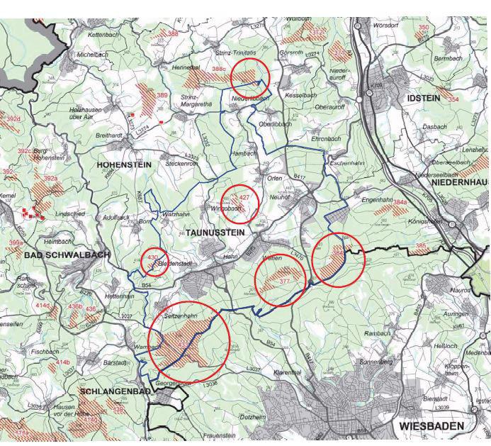 Lage der Vorranggebiete im Stadtgebiet Taunusstein