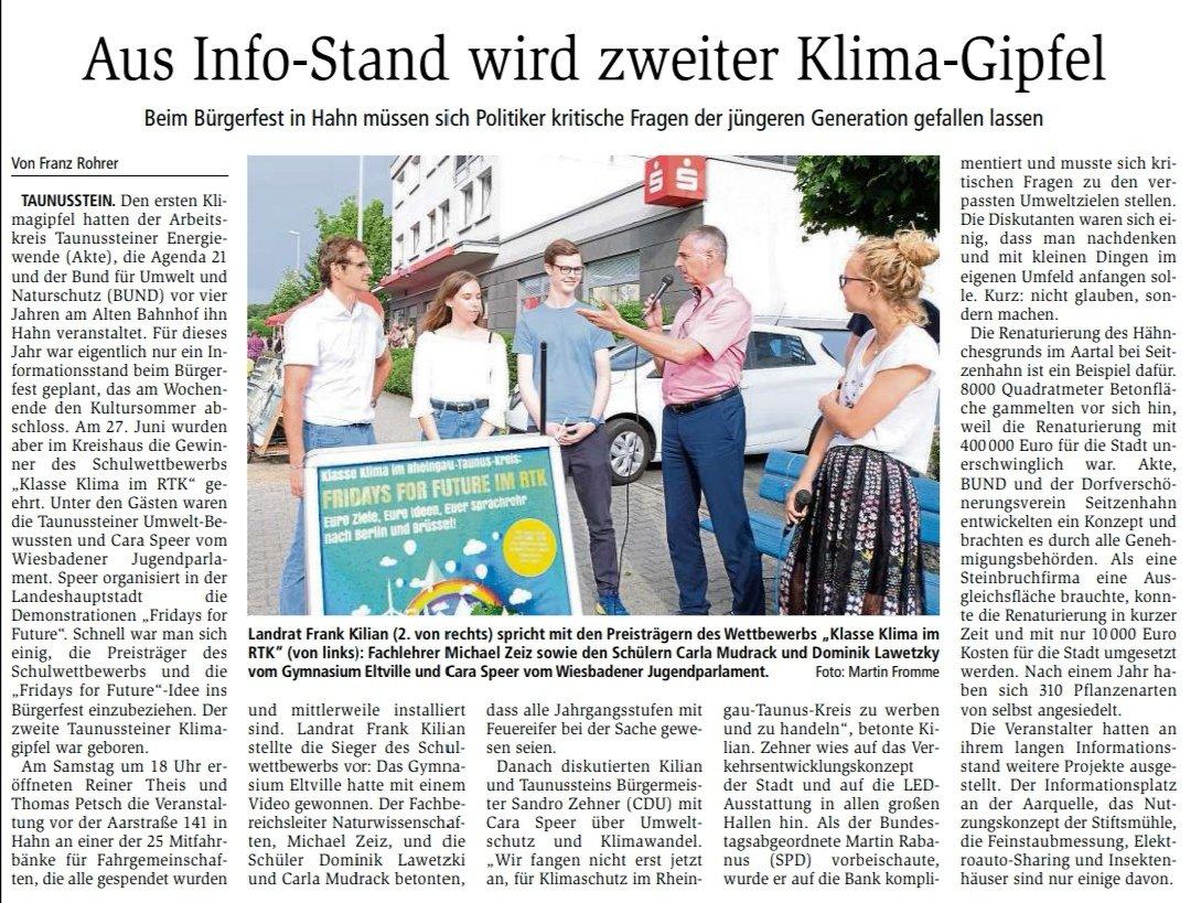 Zeitungsbericht über den Stand des Klimabündnisses auf dem Taunussteiner Bürgerfest 2019